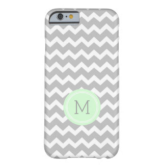 Custom Monogram Grey Mint Chevron Barely There iPhone 6 Case