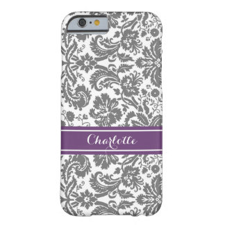Custom Monogram Grey Purple Damask Barely There iPhone 6 Case