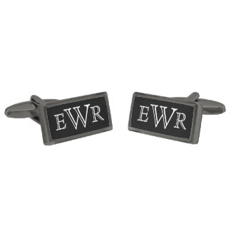 Custom Monogram Gunmetal Finish Cuff Links