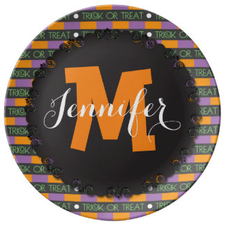 Custom Monogram Halloween Candy Plate Serving Dish Porcelain Plates
