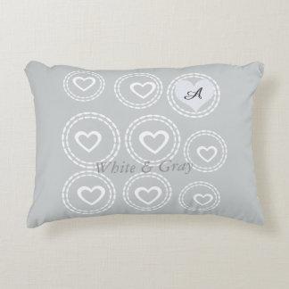 Custom Monogram Hearts Pattern Gray Decorative Cushion