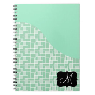 Custom Monogram Initial Mint Green Tile Pattern Spiral Notebook