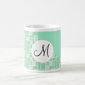 Custom Monogram Initial Mint Green Wave Tile Print Coffee Mug