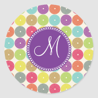Custom Monogram Initial Multi Colored Circles Classic Round Sticker