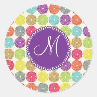 Custom Monogram Initial Multi Colored Circles Round Sticker