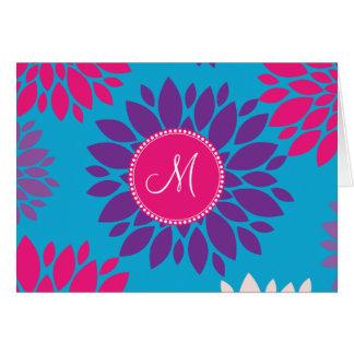 Custom Monogram Initial Pink Purple Flower on Blue Card