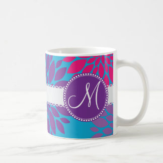 Custom Monogram Initial Pink Purple Flower on Blue Coffee Mug