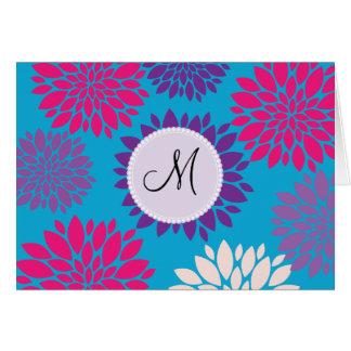 Custom Monogram Initial Pink Purple Flower on Teal Card