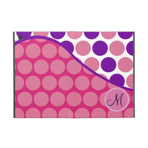 Custom Monogram Initial Pink Purple Polka Dots iPad Mini Cases