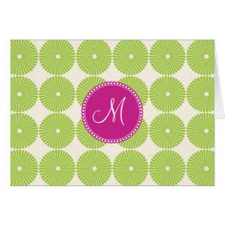 Custom Monogram Initial Spring Green Circles Card