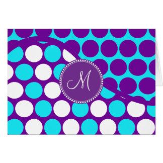 Custom Monogram Initial Teal Purple Polka Dots Card