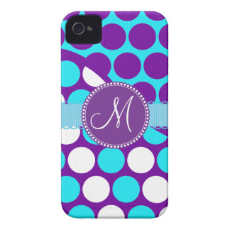 Custom Monogram Initial Teal Purple Polka Dots iPhone 4 Covers