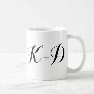 Custom monogram initial wedding anniversary date mugs