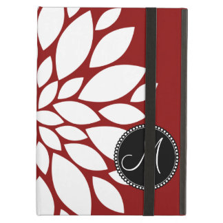 Custom Monogram Initial White Flower on Red iPad Air Cases