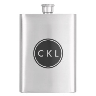 Custom Monogram Initials Black Circle Monogrammed Flasks