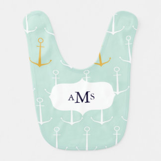 Custom monogram initials nautical anchors preppy baby bib