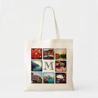 Custom Monogram Instagram Photo Collage Budget Tote Bag