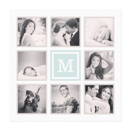Custom Monogram Instagram Photo Collage Stretched Canvas Print