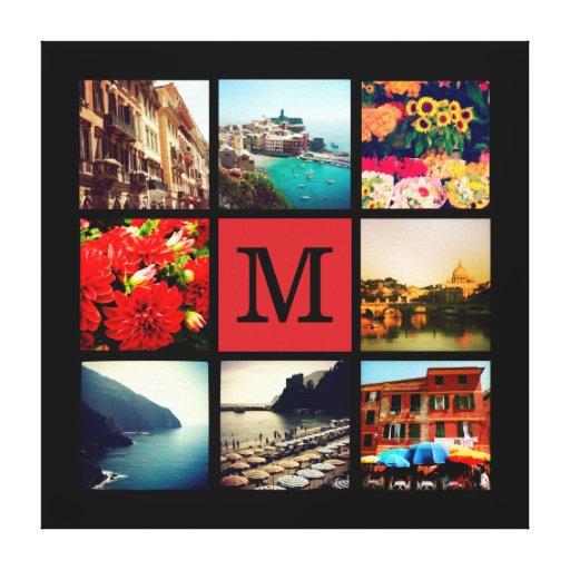 custom monogram instagram photo collage canvas print zazzle. Black Bedroom Furniture Sets. Home Design Ideas