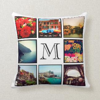 Custom Monogram Instagram Photo Collage Throw Cushions
