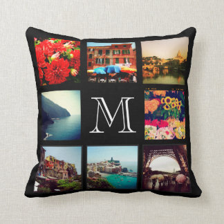 Custom Monogram Instagram Photo Collage Throw Pillow