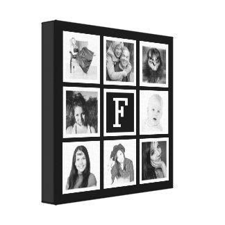 Custom Monogram Instagram Photos Collage Gallery Wrapped Canvas