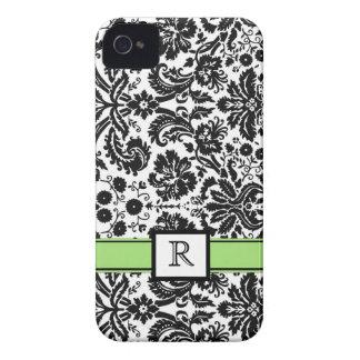 Custom Monogram iPhone 4 Lime Black Floral Damask iPhone 4 Cases