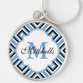 Custom Monogram Keychain Modern Black White Blue