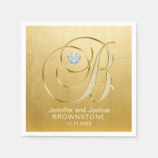 Custom Monogram Letter B Gold Foil Heart Wedding Disposable Serviette