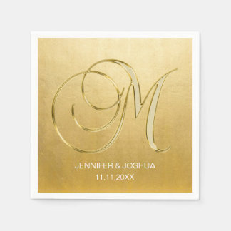 Custom Monogram Letter M Gold Foil Wedding Paper Napkins