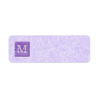 Custom Monogram Letter. Picture of Purple Wood. Return Address Label