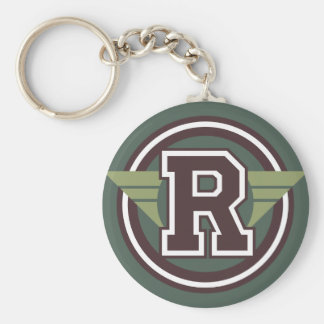"Custom Monogram Letter ""R"" Initial Key Ring"