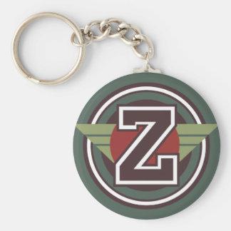 Custom Monogram Letter Z Initial Basic Round Button Key Ring