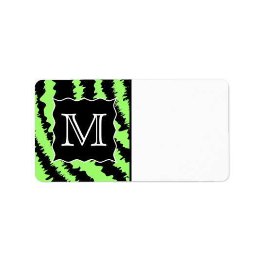 Custom Monogram Lime Green and Black Zebra Pattern Address Label