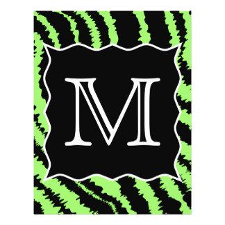 Custom Monogram Lime Green and Black Zebra Pattern Full Color Flyer