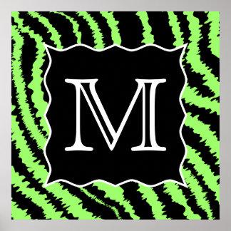 Custom Monogram Lime Green and Black Zebra Pattern Poster
