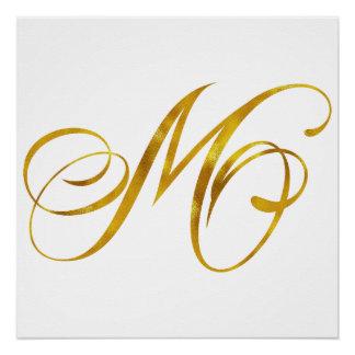 Custom Monogram M Faux Gold Foil Monograms Initial Poster