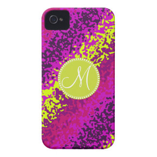 Custom Monogram Magenta Pink Paint Splatters Case-Mate iPhone 4 Case