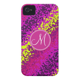 Custom Monogram Magenta Pink Paint Splatters iPhone 4 Cover