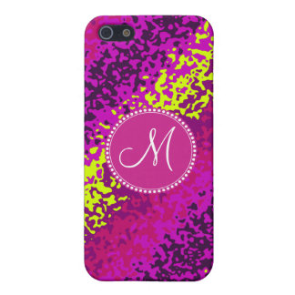 Custom Monogram Magenta Pink Paint Splatters iPhone 5/5S Cases