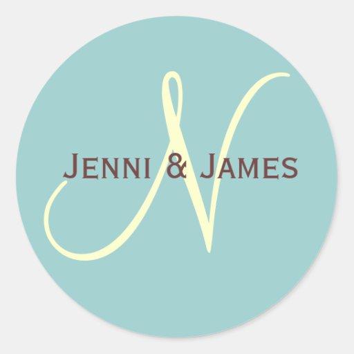 Custom Monogram N Wedding Favor & Envelope Sticker