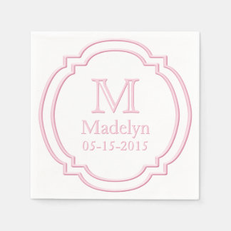 Custom Monogram Name Date White Pastel Pink Frame Disposable Serviette