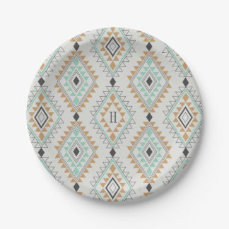 Custom Monogram Navajo Diamonds 7 Inch Paper Plate