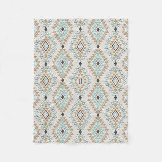 Custom Monogram Navajo Diamonds Fleece Blanket