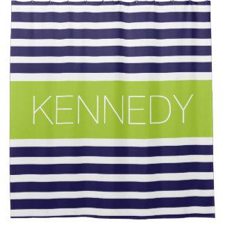 Custom Monogram Navy Blue Apple Nautical Stripes Shower Curtain