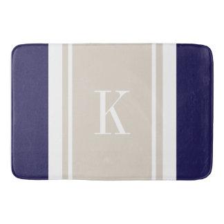 Custom Monogram Navy Blue Beige Stripes Pattern Bath Mat