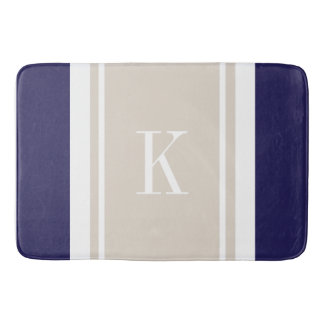 Custom Monogram Navy Blue Beige Stripes Pattern Bath Mats