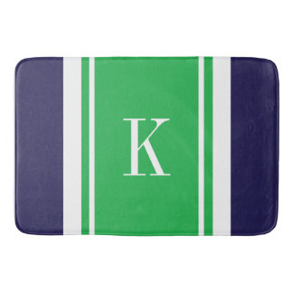 Custom Monogram Navy Kelly Green Stripes Pattern Bath Mat