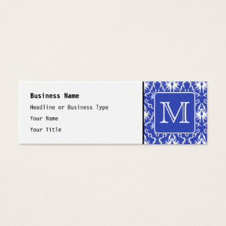 Custom Monogram, on Blue and White Damask Pattern. Mini Business Card