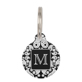 Custom Monogram on Monochrome Paisley Pattern. Pet Name Tag